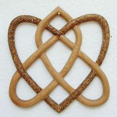 Wood burned Irish Love Knot-Eternal Love Celtic Knot- Two Heart Shapes