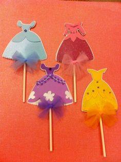 Set of 12 Disney Princesses Sofia the First Dress Cutout Cupcake toppers