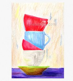 Tea Cup Stack Poster Print Digital Download