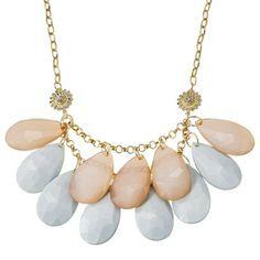 Dainty Looking! Women's Large Teardrop Stone Necklace - Gold/Tan/Mint