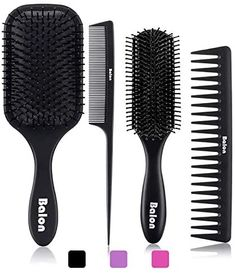 Amazon.com : 4Pcs Paddle Hair Brush, Detangling Brush and Hair Comb Set for Men and Women, Great On Wet or Dry Hair, No More Tangle Hairbrush for Long Thick Thin Curly Natural Hair(Black) : Beauty Best Hair Brush, Hair Brush Set, Wet Brush, 4c Natural Hair, Natural Hair Styles, Parting Hair, Hair No More, Styling Brush, Styling Tools