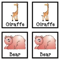 Free printable zoo animals flashcards - good for games of Memory too!
