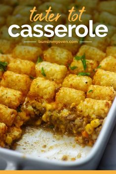 This TATER TOT CASSEROLE RECIPE is pure comfort food and it's one of the easier ways to get my kiddos to eat their veggies! The beef is seasoned perfectly and the tots turn out nice and crisp. #tatertots #casserolerecipe Tater Tot Casserole, Tater Tots, Hamburger Casserole, Chicken Casserole, Easy Healthy Recipes, Easy Dinner Recipes, Easy Meals, Cheap Meals, Dinner Ideas