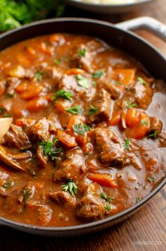 This Braised Beef is pure comfort in a bowl and one of my favorite casserole dishes. This Braised Beef is pure comfort in a bowl and one of my favorite casserole dishes. Best Beef Recipes, Beef Soup Recipes, Vegetable Soup Recipes, Slow Cooker Recipes, Cooking Recipes, Favorite Recipes, Healthy Recipes, Stewing Beef Recipes, Beef Recepies