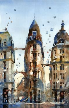 Dreamlike Architectural Watercolors by Tytus Brzozowski Tytus Brzozowski is a Polish architect and watercolorist, graduated from the Faculty of Architecture, Warsaw University of Technology. Watercolor Architecture, Architecture Drawings, Chiaroscuro, Watercolor Illustration, Watercolor Paintings, Watercolours, Cultural Architecture, Chinese Architecture, Colossal Art