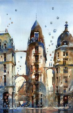Les Aquarelles architecturaux oniriques de Varsovie par Tytus Brzozowski (8)