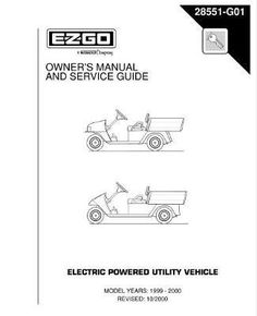 EZGO 28551G01 1999-2000 Owners' Manual and Service Guide for Electric Powered Utility Vehicle by EZGO. $45.02. Used for 1999-2000 electric powered utility vehicle. Provides detailed and thorough information for the service and maintenance of your vehicles. Workhorse 800; workhorse 800 lx; industrial 800; workhorse 1000; workhorse 1000 lx. Please Search EZGO Manuals to find a manual for another vehicle.. 2004-2008 Technician's Repair and Service Manual for Electric...