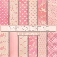 "Valentine's Day Digital Paper: ""Pink Valentine"" twelve gentle pink pattern with cupids, hearts and arrows"