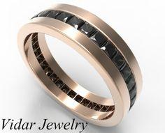 Men's Princess Cut Black Diamonds Wedding Band