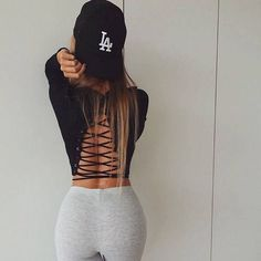 $24.99 O Neck Lace Up T-shirts Crop Tops