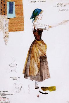 By Jeakins, Dorothy - Costume sketch, Maria with a blue head scarf