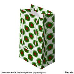 Green and Red Kaleidoscope Star Small Gift Bag