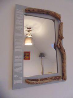 """création personnelle, unique et originale d'un miroir avec encadrement en bois flotté et message """" l'air du large"""" au pochoir.  Pour une ambiance naturelle esprit bord de mer v - 19377370"""