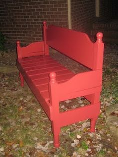 DIY with IVY: Repurpose  Old Headboard/ Footboard made into a bench