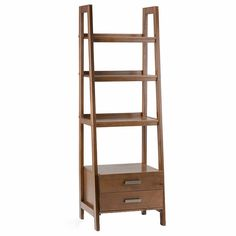 Simpli Home Sawhorse Solid Wood 72 inch x 24 inch Modern Industrial Ladder Shelf with Storage in Medium Saddle Brown Wood Ladder Shelf, Ladder Bookcase, Bookshelves, Ladder Storage, Wooden Bookcase, Storage Drawers, Storage Spaces, Cath Kidston, Etagere Bookcase