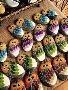 Owls, handpainted river rock, stones, owls