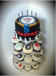 Winnipeg Jets hockey fondant cupcake tower birthday cake I made. Javajunko Cakes