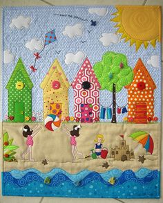 """""""Love the Beach"""" by mamacjt, via Flickr Love the creative use of buttons on this wall quilt!"""