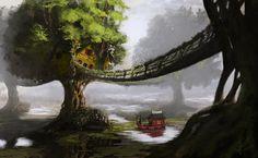 Swamp Village Paintover by jjpeabody.deviantart.com on @DeviantArt Fantasy Landscape, Fantasy Art, Fantasy Trees, Fantasy Places, Tree House Wallpaper, Castle Painting, Art Watercolor, Widescreen Wallpaper, Desktop Wallpapers
