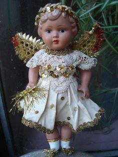 vintage 1930 1940 old celluloid fairy angel doll christmas tree topper decoratio Christmas Tree Fairy, Christmas Angel Ornaments, Fairy Tree, Merry Little Christmas, Christmas Past, Christmas Tree Toppers, Christmas Bells, Tree Angel, Christmas Crafts