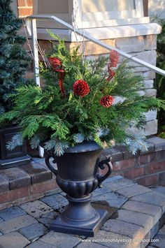 Front porch urns | Evolution of Style: Easy Outdoor Holiday Decor