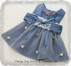 Vintage Dog Dress  S M L Couture Dog Clothing by SophiesPetCloset, $57.00