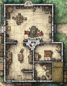 Cottage (Interior View w. hidden secret room)
