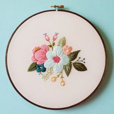 Embroidery Designs Delicate Hoop Art Embroidery Blossoming with Floral Motifs - My Modern Met - Vancouver-based artist Caitlin Benson (of Cinder Embroidery Designs, Modern Embroidery, Embroidery Hoop Art, Vintage Embroidery, Floral Embroidery, Cross Stitch Embroidery, Embroidery Digitizing, Crewel Embroidery, Embroidered Flowers