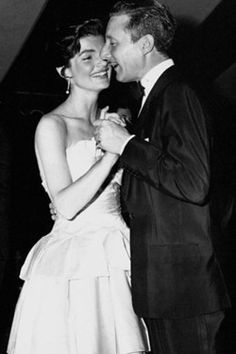 Jackie dancing with designer Oleg Cassini. The looks he created for her are some of the most iconic in fashion history. He designed my wedding dress and she's my ultimate fave! I HAVE to have this picture!