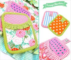ScrapBusters: Colorful Ruffled Oven Mitts