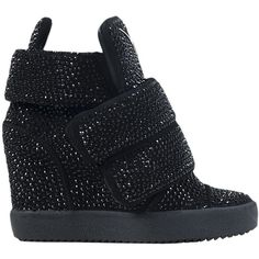Giuseppe Zanotti High top suede and swarovski sneakers ($2,164) ❤ liked on Polyvore
