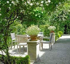 Love the simplicity of this garden and the white touches.