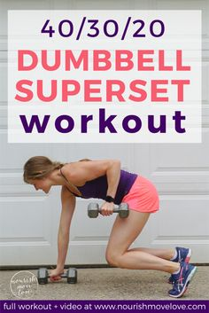 Get your timers ready: this Dumbbell Superset HIIT Workout is the quick and efficient timed circuit workout you need to add to your workout routine! At Home Workouts For Women, Workout Plan For Women, Abs Workout Routines, Workout Videos, Hiit, Kettlebell Cardio, Kettlebell Training, Workout Dumbell, Dumbbell Workout At Home