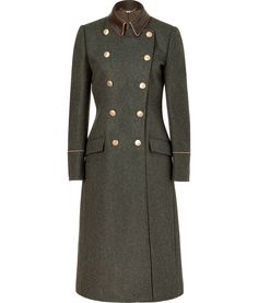 SALVATORE FERRAGAMO  Charcoal Double-Breasted Wool Loden Coat with Leather Trim