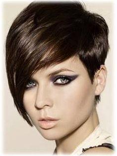 Chestnut Hair | Asymmetric Short Haircut- In Chestnut Brown Hair Color