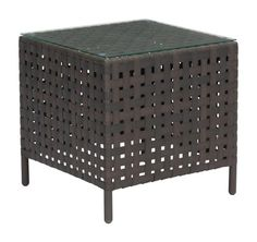 Pinery Outdoor Side Table in Brown with Tempered Glass Top