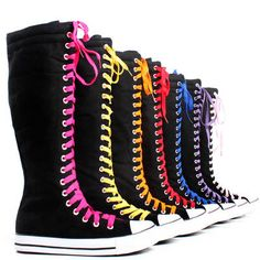Canvas Sneakers Flat Tall Casual Punk Womens Skate Shoes Lace Up Knee High Boots