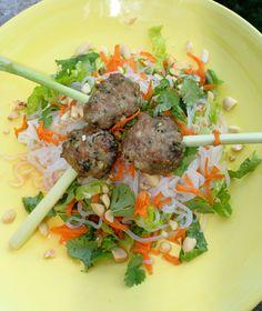 Asian Style Roasted Pork Meatballs atop Vietnamese Salad