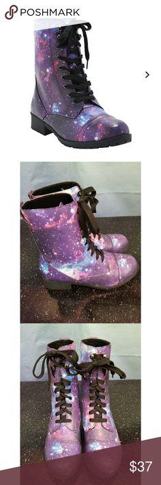 ♡ $20 Flash Sale Galaxy Combat Boots Hot Topic Galaxy Combat Boots, worn once, size 6 Hot Topic Shoes Combat & Moto Boots