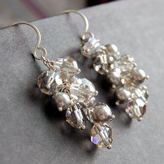 Silver Swarovski Crystal Bridal Earrings Pearl by GreenRibbonGems, $62.00