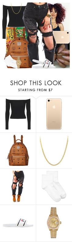 """""""Untitled #1006"""" by msixo ❤ liked on Polyvore featuring Topshop, MCM, Lord & Taylor, Hue, Fila and Rolex"""
