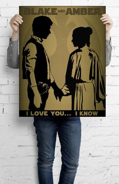 """Star Wars Inspired Han Solo and Princess Leia, """"I Love You... I Know"""" art print.  Personalize with your names for a truly one of a kind keepsake. May the Force be with you."""