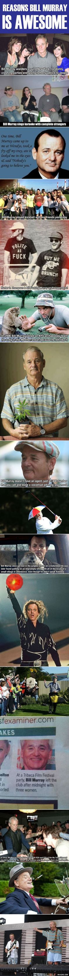 "Bill Murray is the real ""Most Interesting Man In The World."" I totally agree with this. Love him!"