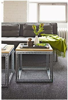 24 Living Room DIYs: Lowe's has the lowdown on making these industrial side tables.