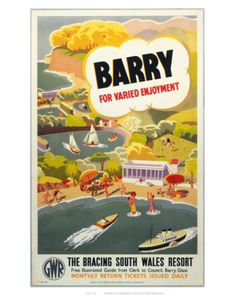 Vintage Travel Poster - Wales - Barry - Railway