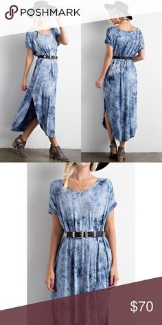 54bda4ad154 Blue Tie-Dye Side Slit Dress Blue tie-dye side slit dress. Does