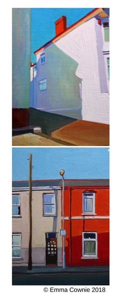 Two urban scenes by contemporary artist Emma Cownie