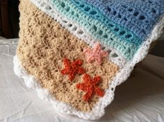 Beach/ Ocean Themed Baby Blanket by LaBlancheBiche on Etsy, $50.00