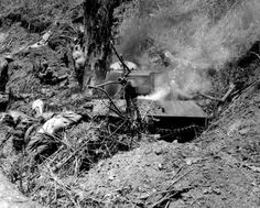 A Type 95 Ha Go tank of the IJA 2nd tank division is seen destroyed by the US 37th Infantry Division at Bone Luzon, 1945. In front of the wreckage the bodies of the driver and loader can be seen, who were shot as they tried to escape the fire that started inside. 武士の島