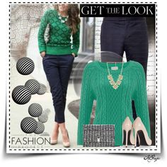 """""""Get the Look: Fall in Green and Navy"""" by kginger on Polyvore"""